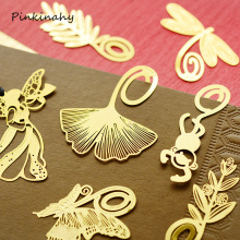 Mini Cute Kawaii Gold Metal Bookmark Paper Clip Antique Plated Animal Butterfly Dragonfly Leaf Plants Bookmark Korean Stationery(China)