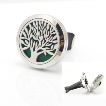 New Design 30mm Stainless Steel Car Round Tree of life Aromatherapy Essential Oil Diffuser Perfume Locket Jewelry Clip for Car