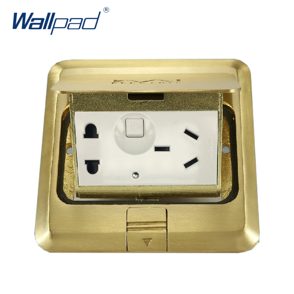Wallpad Luxury Copper and SS304 Panel 1 Gang 5 Pin Floor Socket Damping Slow Open For Ground With Mouting Box AC110-250V<br>