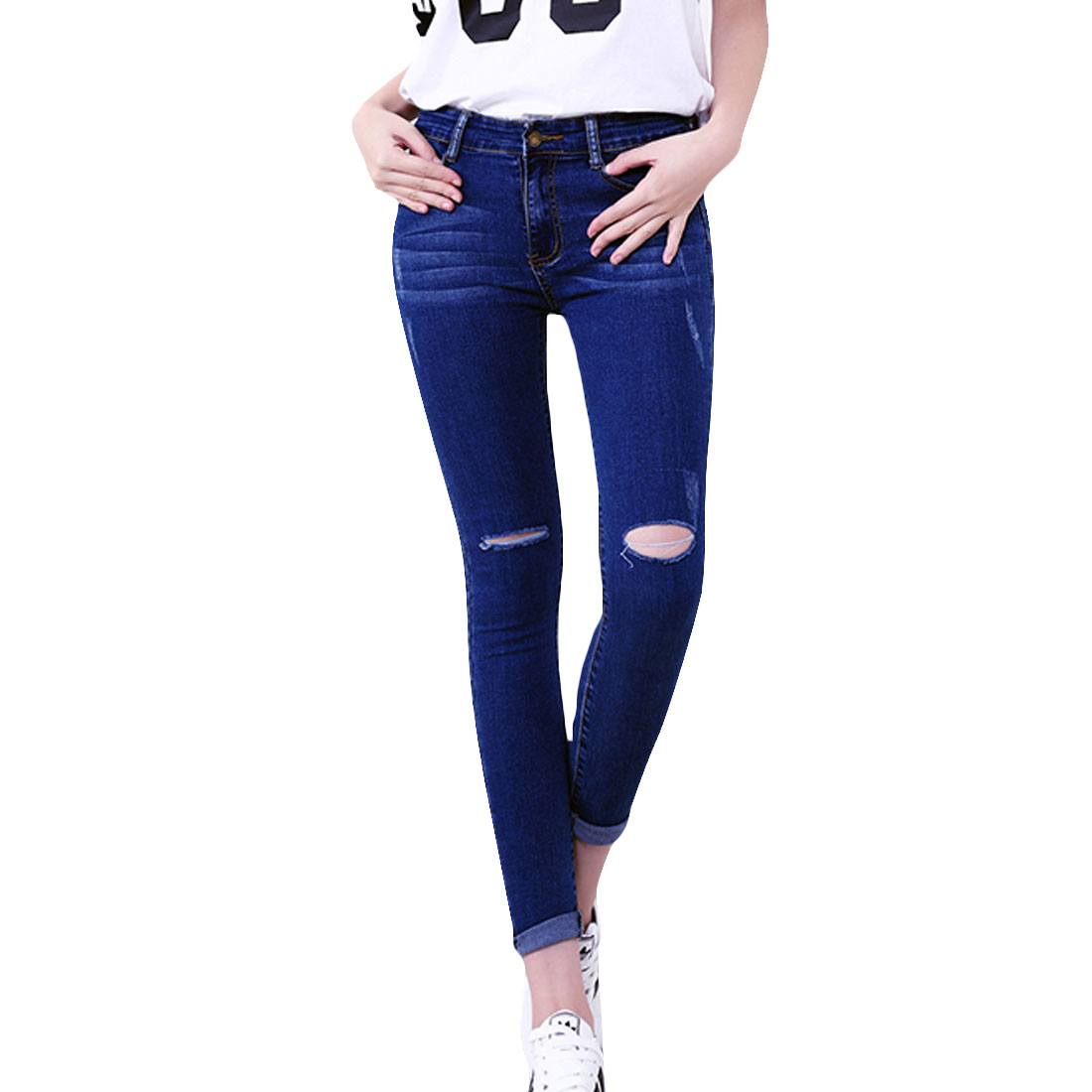 Pants Women Denim Pencil Pants 2017 Skinny Jeans Large Size Women Hole Stretch High Waist Jeans European and American TrousersОдежда и ак�е��уары<br><br><br>Aliexpress