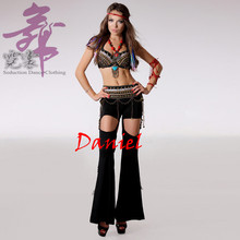 Tribal Style Tassel Belt Dance Pants Peacock Feather Belly Dance Women Tribal Belly Dance Costume(China)