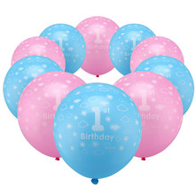 10pcs / lots Pink Blue latex balloons birthday party decoration boy '1- Girls' 1 latex balloons wholesale digital toys