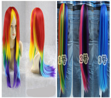 Pony Wig Color Tail for Halloween Cosplay Party Kids Adult Party Supplies Pony Rainbow Wig Multi Color Party DIY Free Shipping