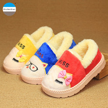 2017 Winter 1 to 7 years old kids slippers boy and girl household cotton shoes good quality keep warm cartoon children shoes(China)