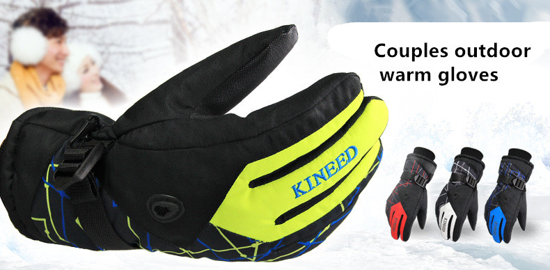 Men Women Ski Gloves Winter Waterproof Anti-Cold Warm Gloves Outdoor Sport Snow Sportswear Skiing Gloves 2