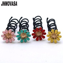 2 piece Hotsale Alloy Daisy Flower Barrette Spin Screw Hairpin Hair Clip Twist for Wedding Hair Accessories(China)