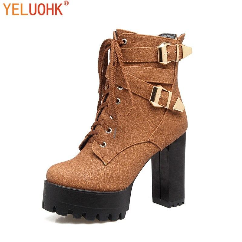 33-46 Women High Boots Plush Women Winter Boots High Heel Ankle Boots Women Winter Shoes Platform Big Size<br>