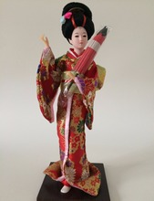 12 Inches Handmade Crafts Raw Silk Japanese Geisha Dolls With Umbrella Costume Geisha Figure Doll Home Decorations tangrenfang