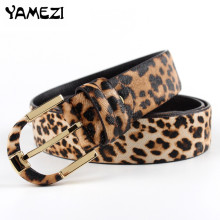 2017 Fashion brand lady belts Leopard designer cow real leather belt for women luxury belt for women ZX038