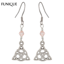 FUNIQUE Ethnic Kinds Antique Silver Color Pink Crystal Charm Earring Jewelry Accessories Hollow Out Earrings Findings 4.7x1.45cm