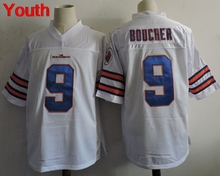 Youth The Waterboy Adam Sandler Movie #9 Bobby Boucher White Football Jersey Forrest Gump 44 University of Alabama kids jersey(China)