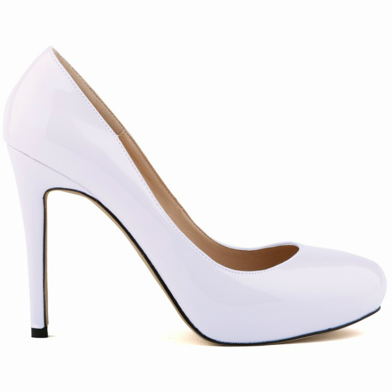 Fashion round toe chunky thin heel wedding bridal shoes super high heels white patent leather women shoes platform sexy pumps(China (Mainland))