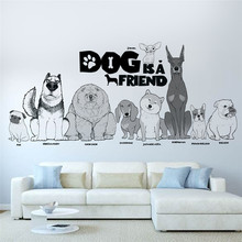 Dog is a friend Animals Wall Sticker Living Room Bedroom Pet Home Wall Decor 3D Vivid Wall Decals Art Mural Poster