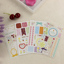 Buy 9PCS/3pack DIY Office Stationery Lace Decoration Paper Sticker Diary Scrapbooking Decal School Supplies Kawaii Child Gift for $1.35 in AliExpress store