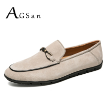 Buy AGSan Genuine Leather Men Casual Shoes Slip Mens Suede Loafers Solid Color Moccasins Khaki Driving Shoes Luxury Mens Flats for $28.97 in AliExpress store