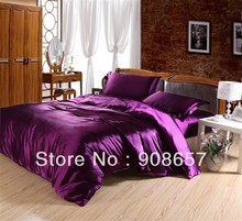 sexy purple girls luxurious Smooth Shiny imitated silk satin fabric bed linen bedding comforter queen/full quilt duvet cover set