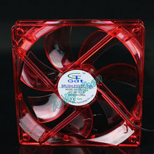 1Pieces GDT PC Computer Case 4Pin DC 12V Heatsink Brushless Cooling Fan Red LED 120x25mm 12025S 12025