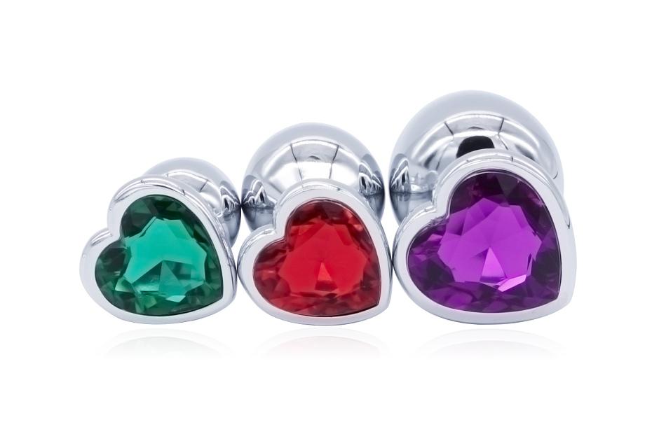 DOMI 3PCS Anal Beads Crystal Jewelry Heart Butt Plug Stimulator Sex Toys Dildo Stainless Steel Anal Plug 3