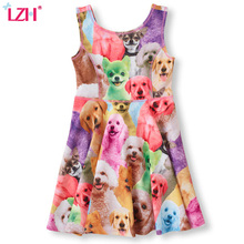 LZH 2017 Summer Sundress Girls Beach Dress Cartoon Cat Dog Rabbit Mini Dress Kids Girls Princess Party Dresses Children Clothes