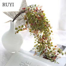 Gold and silver leaves artificial plants long vine green home scene decoration wedding fake accessories(China)