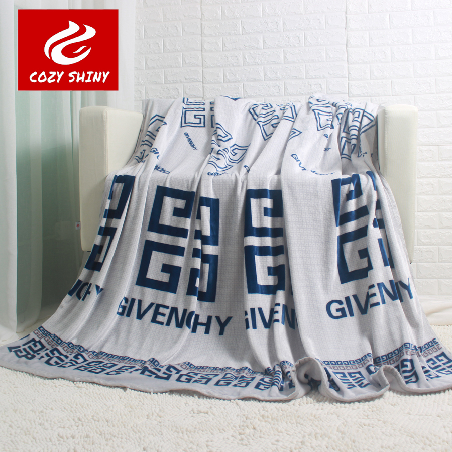 Fuzzy Fannel blanket  Thick King Queen Size Blankets Throw on the Couch Bed silver grey G Letter Printing Warm Bed Sheet<br><br>Aliexpress
