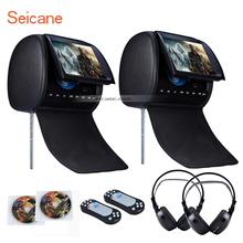 Seicane High Quality Colorful Headrest DVD Player 9 inch 800*480 with FM Games and Zipper Cover(1 Pair) Blue Black and Beige