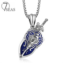 7SEAS Summer Collection World of Warcraft Neckalce Stainless Steel Sword Shield Pendant 3 Colors 550mm Length Man Jewelry 7S1162