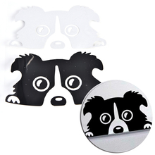 funny car stickers Peeking Border Collie Dog Vinyl Decals Truck Decor Car Door Body And Motorcyle 1PC 14*8cm(China)