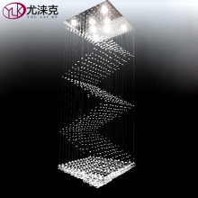 Luxury Stair Modern Crystal Light Chandelier Long Hotel Hall Hang Cristal Lighting Fixture Square Design LED Lustres De Cristal