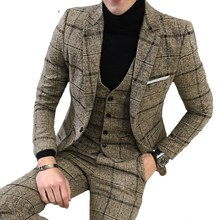Men's Suit Tuxedo Blazer Jacket Wedding-Dress Design Fashion Luxury Pants Vest Plaid