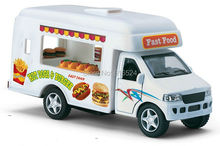 Brand New Cute Fast-Food Truck Die Cast Pretend Play Boys Fashion Vintage 1/18 scale Pull-Back Alloy model toy cars