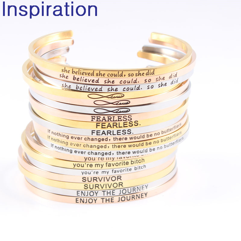 Wholesale Personalized Stainless Steel Jewelry Postive Saying Quotes Inspirational Mantra Open Cuff Bangle Engraved Bracelet
