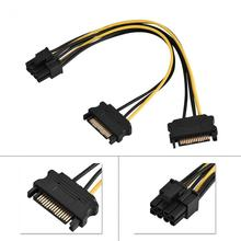 15 Pin SATA Male To 8 Pin Female PCI-E PCI Express Power Supply Adapter Cable(China)
