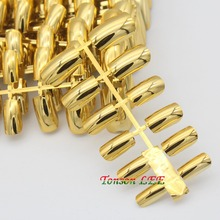 12pcs Hot Sale Nail Art Display Full Cover False Nail Tips Silver/Gold Metal Fake Nails Extension Decorated Manicure Accessories