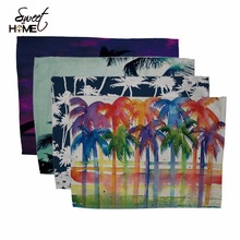 Cotton Linen Tropical Palm Coconut Tree Drawing Table Dishware Place Mats For Dinner  Accessories Cup Wine mat