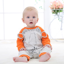 Funny Baby Boys Onesie Spring Autumn Long Sleeve Newborn Infant Rompers Jumpsuits Cotton One Piece Toddler Coveralls Orange Kids(China)