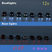 4PCS 1: 50  O Scale Model Lighted Cars With 12V LEDs Lights for Building Layout EC50 railway modeling