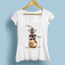 cute GROOT with BB8 FUNNY tshirt femme JOLLYPEACH brand new white casual Tee shirt women bb 8 and R2 ROBOT T Shirt(China)