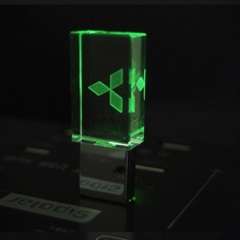 Crystal USB Flash Drive 4GB 8GB 16GB 32GB for Mitsubishi Car USB 2.0 Pen Drive Car USB Stick with LED Light Free LOGO Over 10pcs