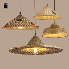 Bamboo Wicker Rattan Hat Pendant Light Fixture Rustic Asian Japanese Hanging Lamp Avize Luminaria Dining Table Room Restaurant