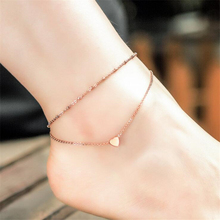 Hot sale Sweet Simple Heart Pendant Anklet Double chain Gold Ankle Bracelet Foot Jewelry Barefoot Sandals Anklets For women