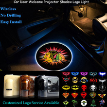 2PCS Chicago Blackhawks Logo Wireless Senor Car Door Welcome Ghost Shadow Spotlight Laser Projector Puddle LED Light(China)