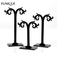 FUNIQUE Display 1Set Black Acrylic Earring Tree Shaped Display High Quality Stand Holder Jewelry Display 13x5cm 11cmx5cm 9cmx5cm