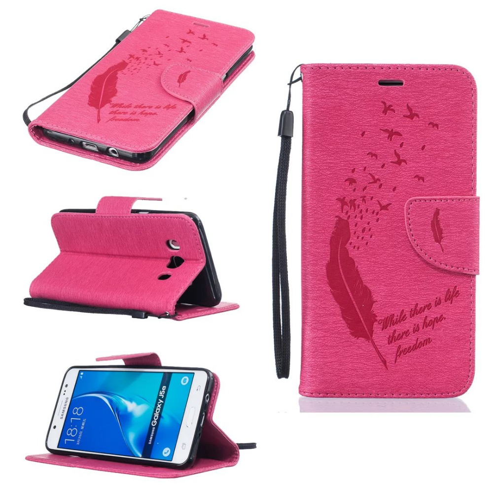 Pu leather case for samsung galaxy a7 2016 a710 peacock feather - Cartoon For Coque Samsung A3 A5 J5 2016 Feather Flip Wallet Stand Funda Case For Samsung