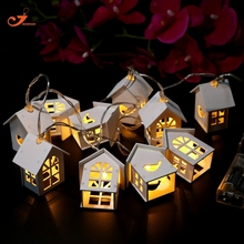 10 LED String light Fairy Wooden Lantern Decor Bird home Decor Christmas tree lights Battery Operated New year lights led party