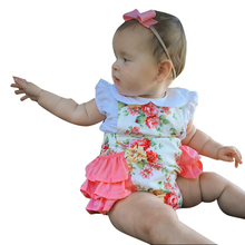 2-24 Month Newborn Baby Summer Rompers One-piece Suit Sleeveless Backless Floral Print Rompers Toddler Girls Jumpsuit(China)