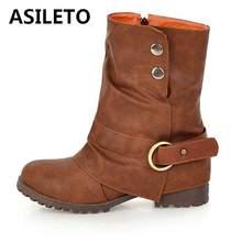 44f753d3e3c14 ASILETO American Women Winter Boots ankle boots Rivet Buckle Western Boots  Cowboy women Motorcycle boots Women