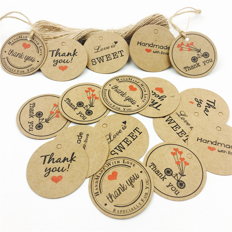 Christmas Wedding Gift Tags Price Label Tags Khaki Craft Hang Cards Tags Transer 100 PCS Kraft Paper Tags