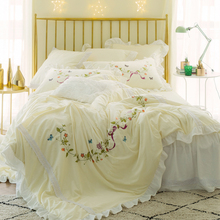 Yellow Pink Luxury Princess Cute Bedding sets Girls Full Queen King Bed sheet set Gifts Embroidered Duvet cover Pillowcases(China)