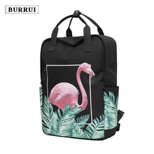 BURRUI New waterproof design square shoulder bag printed Flamingo backpack square leisure travel Maiden Totes Unisex Satchels